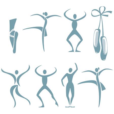 Selección de figuras en diferentes poses de baile y zapatillas de ballet