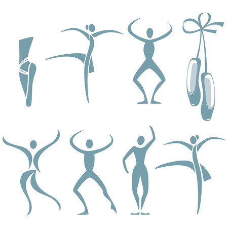 Selection of figures in different dance poses and ballet shoes Illustration