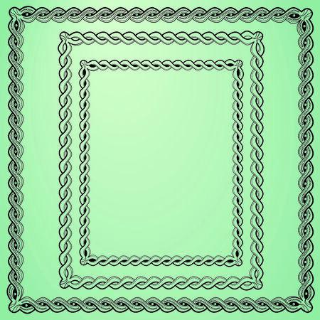 quadratic: 3 fotogrammi intrecciati d'epoca. 1 forma quadrata e di forma rettangolare e 2. Vettoriali