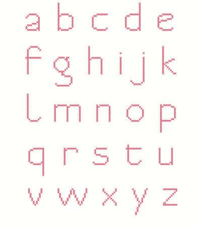 punto de cruz: Simple punto de cruz alfabeto minúscula Vectores