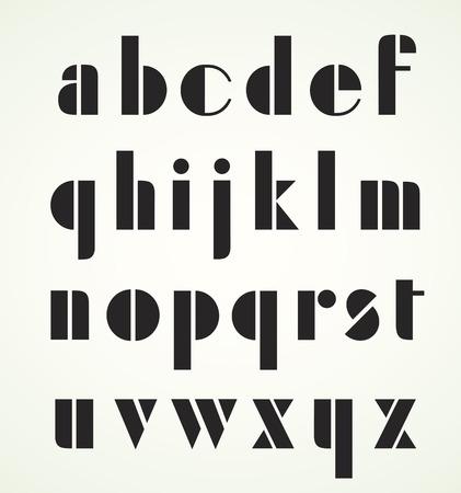 minuscule: Geometric Retro Art Deco Minuscule Alphabet. Use the letters for titles headlines etc. Illustration
