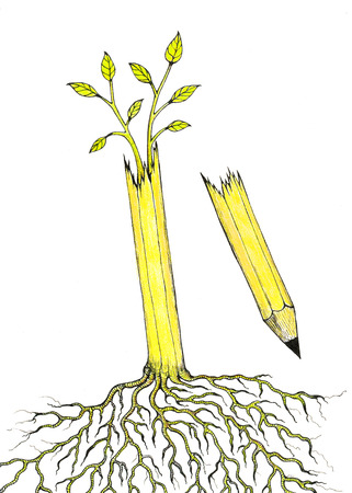 profound: Hand drawn illustration of a pencil tree with profound roots that continues to grow after it has been broken.