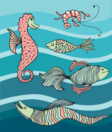 blue sea: A selection of colorful fishes and sea creatures illustration