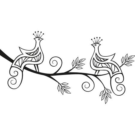 birds of paradise: Two decorative paradise birds sitting on a flourishing tree branch.