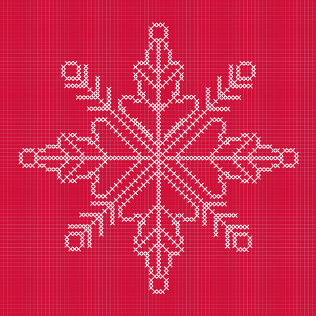 cross stitch: Cross stitch snowflake with grid Illustration
