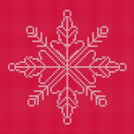 cross stitch: Cross stitch snowflake with grid Illustration