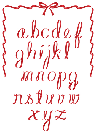 drop cap: Alphabet featuring shiny red christmas ribbon minuscule letters