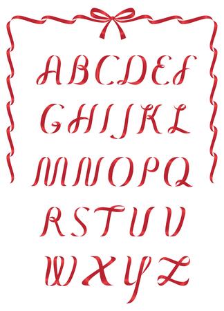 birretes: Brillante alfabeto de la cinta roja de la Navidad
