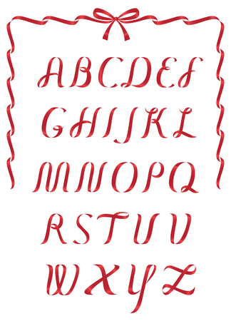 caps: Shiny Red Christmas ribbon alphabet