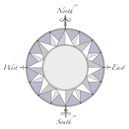latitude: Compass Rose With Decorative Arrows and empty space for text