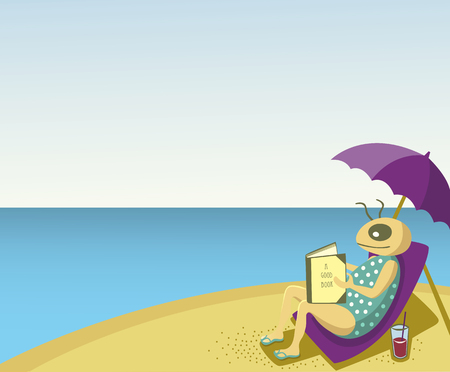 person reading: One person is sitting at the beach relaxing under a parasol reading a good book. The weather is sunny. It is a hot day. Illustration