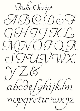 italic: Italic Script Alphabet Capitals and Small letters. Decorative letters to use for titles drop caps etc.