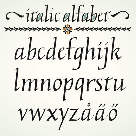 italics: Calligraphic Italics Alphabet With Decorative Border