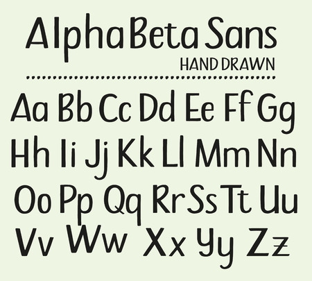 Hand drawn sans serif alphabet containing all upper and lower case letters Stock fotó - 82517044