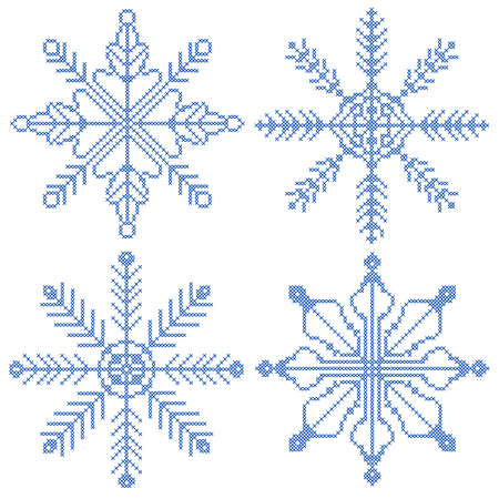 Collection of 4 cross-stitch snowflakes