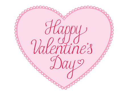 Happy Valentines Day  Card with script text on a pink lace bordered heart
