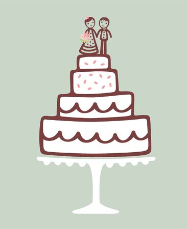Wedding cake with bride and groom cake topper. Illustration