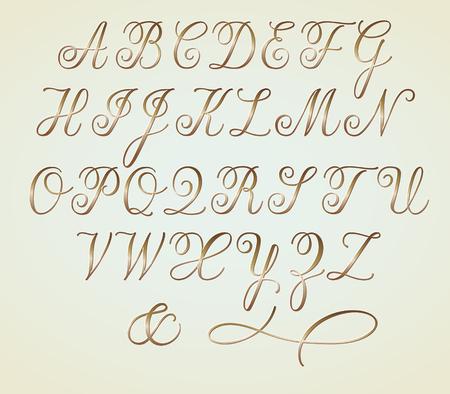 Set of Golden Copperplate Monogram Letters Alphabet Illustration