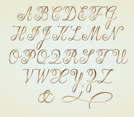 Set of Golden Copperplate Monogram Letters Alphabet Standard-Bild - 95342761