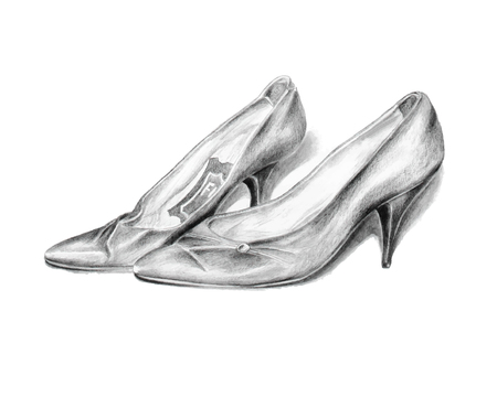 Pencil drawing of a pair of vintage lady's high heel leather shoes