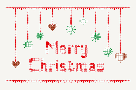 Cross Stitch Merry Christmas with embellishments Illustration