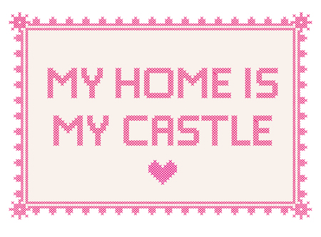 Vector cross stitch embroidery with the text My Home is my Castle 免版税图像
