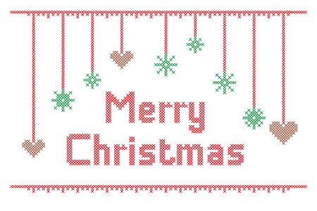 Vector Cross Stitch Embroidery Merry Christmas with Ginger Hearts and Snowflakes Illustration