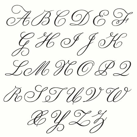 Monogram Alphabet with both Upper- and Lowercase letters in Copperplate style