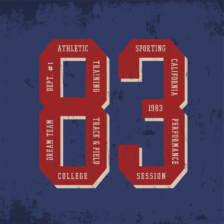 athletic: Athletic print for t-shirt or apparel with numbers 8 and 3. Retro sport fashion and graphic for printing. Design with old school typography and fonts. Vintage effects are easily removable.