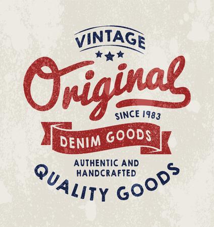 mezclilla: impresión Vintage Denim original para la camiseta o ropa. gráfico de la escuela vieja de la moda o la impresión. ilustraciones y tipografía retro con efectos vendimia desmontables fáciles.
