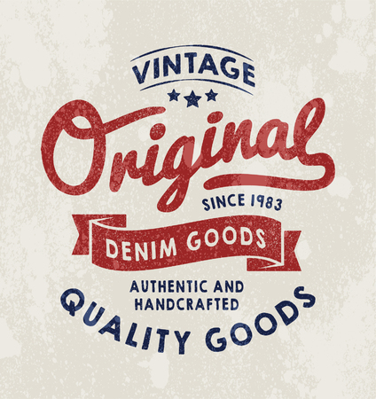 vintage fashion: Original Vintage Denim print for t-shirt or apparel. Old school graphic for fashion or printing. Retro artwork and typography with easy removable vintage effects.