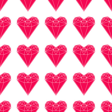 Geometric heart shapes pattern. Illustration