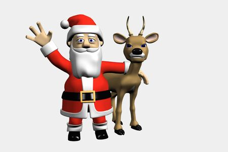 Santa waves and a deer Stock Photo - 6009129
