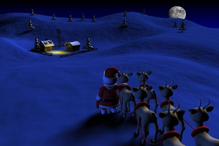 Santa is going to a farm house