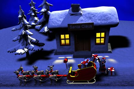 Santa is preparing his journey to delivers gifts Stock Photo