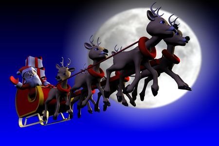 Santa is flying in front of the moon Stock Photo