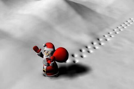 Santa walks on the snow Stock Photo
