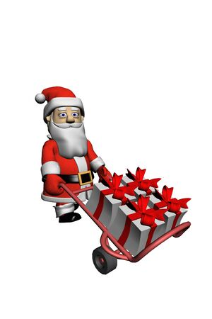 Santa delivers gifts Stock Photo