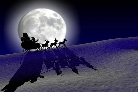 Santa in the night journey Stock Photo