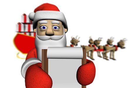 Santa shows a delivery receipt