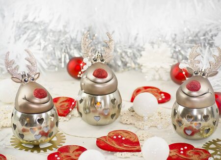 new years eve dinner: Table Christmas decor with reindeer
