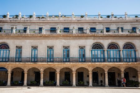 Beautiful symmetry of arches and balconies of a hotel, Havana, Cuba Reklamní fotografie