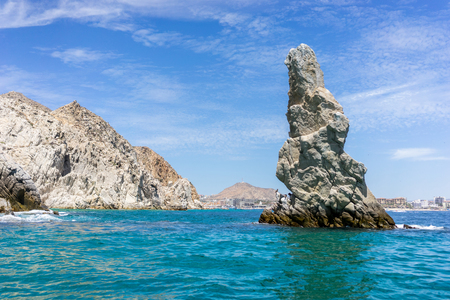 Rock Formations around the Arch in Cabo San Lucas, Mexico. Stock Photo