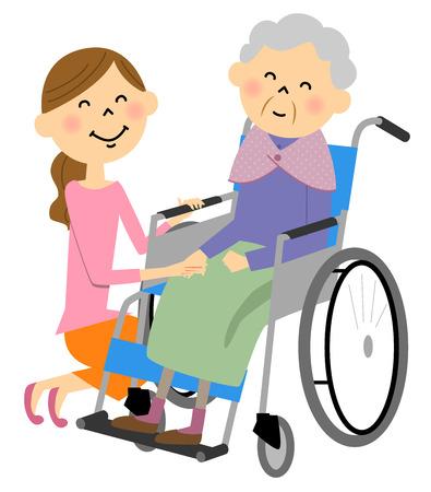 De bejaarde zit in een rolstoel, de verpleegkundige zorg