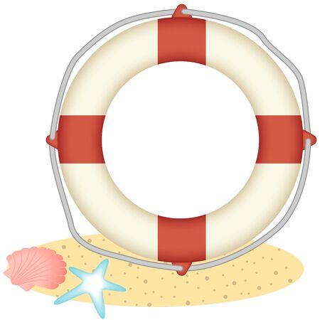 back belt: Lifebuoy and shellfish and starfish