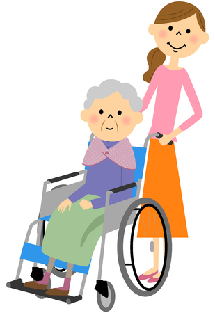 sits: The elderly sits in a wheelchair, nursing care Illustration