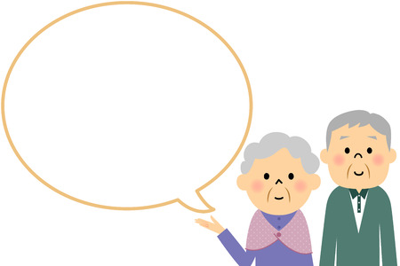 the explanation: Elderly couple with blank text bubble and Balloon