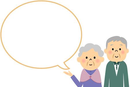 Pareja de ancianos con la burbuja de texto en blanco y globo