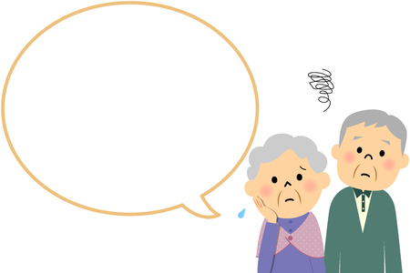 spouses: Elderly couple with blank text bubble and Balloon