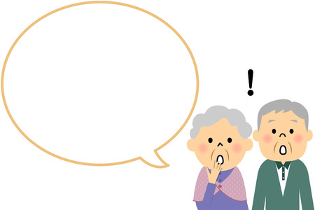 gosh: Elderly couple with blank text bubble and Balloon